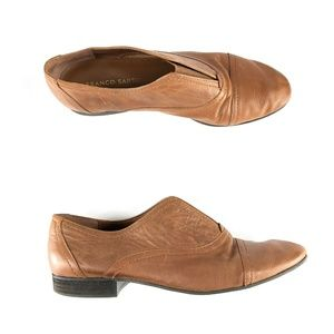 Franco Sarto Andes Flat Loafer Camel Brown Leather